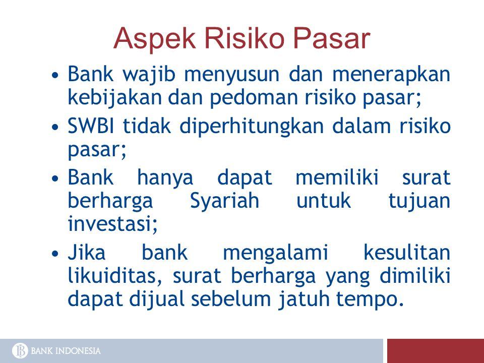 Aspek Risiko Pasar Bank wajib menyusun dan menerapkan kebijakan dan pedoman risiko pasar; SWBI tidak diperhitungkan dalam risiko pasar; Bank hanya dap