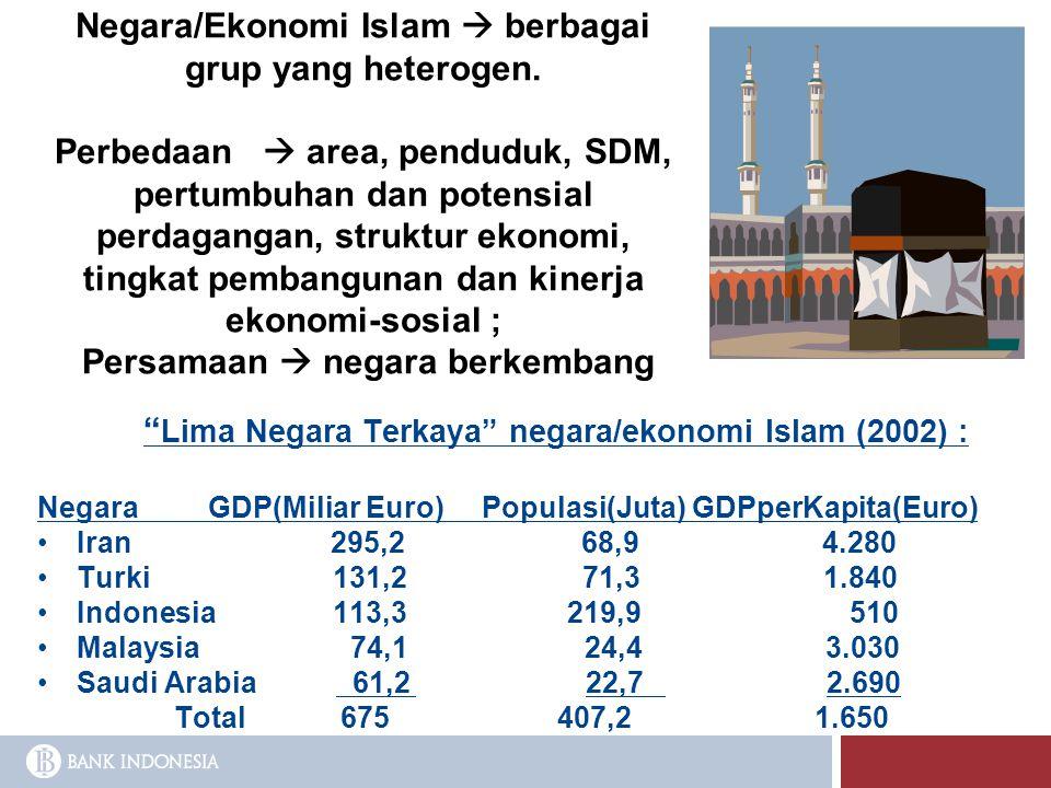 Negara/Ekonomi Islam  berbagai grup yang heterogen. Perbedaan  area, penduduk, SDM, pertumbuhan dan potensial perdagangan, struktur ekonomi, tingkat