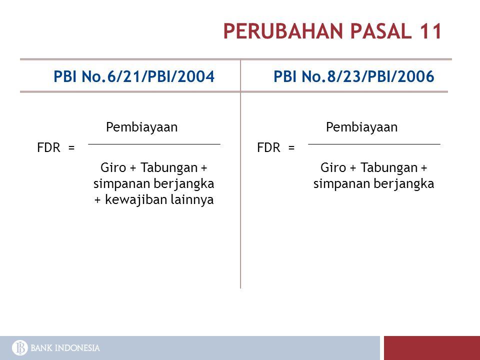PERUBAHAN PASAL 11 PBI No.6/21/PBI/2004PBI No.8/23/PBI/2006 FDR = Pembiayaan Giro + Tabungan + simpanan berjangka + kewajiban lainnya FDR = Pembiayaan