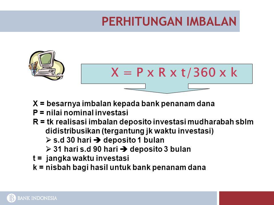 PERHITUNGAN IMBALAN X = besarnya imbalan kepada bank penanam dana P = nilai nominal investasi R = tk realisasi imbalan deposito investasi mudharabah s