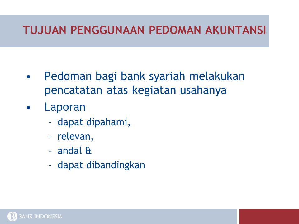 TUJUAN PENGGUNAAN PEDOMAN AKUNTANSI Pedoman bagi bank syariah melakukan pencatatan atas kegiatan usahanya Laporan –dapat dipahami, –relevan, –andal &