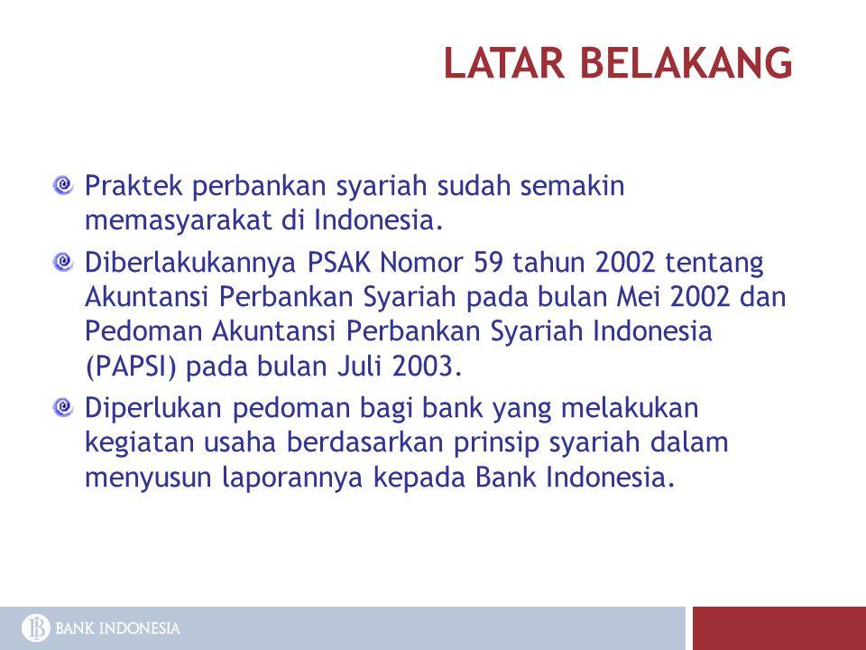 LATAR BELAKANG Praktek perbankan syariah sudah semakin memasyarakat di Indonesia. Diberlakukannya PSAK Nomor 59 tahun 2002 tentang Akuntansi Perbankan