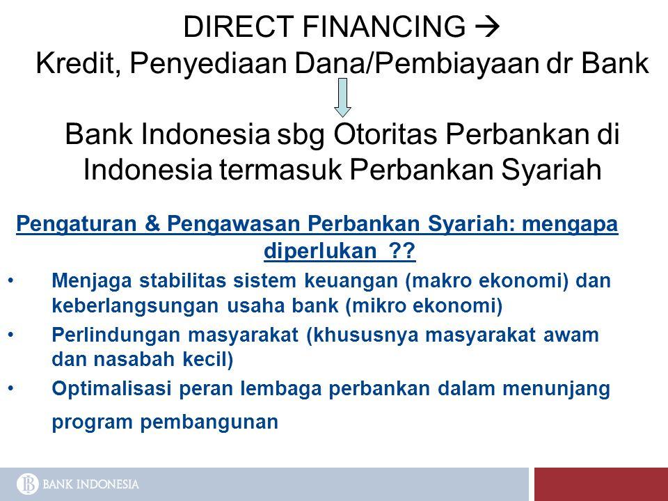 DIRECT FINANCING  Kredit, Penyediaan Dana/Pembiayaan dr Bank Bank Indonesia sbg Otoritas Perbankan di Indonesia termasuk Perbankan Syariah Pengaturan