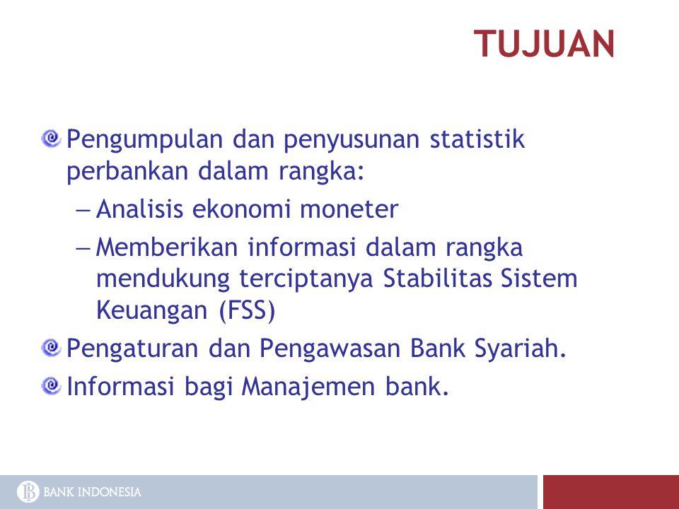 TUJUAN Pengumpulan dan penyusunan statistik perbankan dalam rangka: – Analisis ekonomi moneter – Memberikan informasi dalam rangka mendukung terciptan