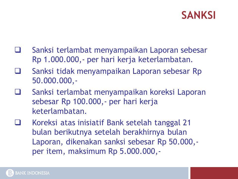 SANKSI  Sanksi terlambat menyampaikan Laporan sebesar Rp 1.000.000,- per hari kerja keterlambatan.  Sanksi tidak menyampaikan Laporan sebesar Rp 50.