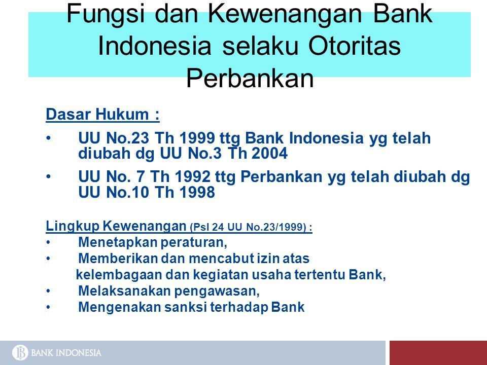 Fungsi dan Kewenangan Bank Indonesia selaku Otoritas Perbankan Dasar Hukum : UU No.23 Th 1999 ttg Bank Indonesia yg telah diubah dg UU No.3 Th 2004 UU
