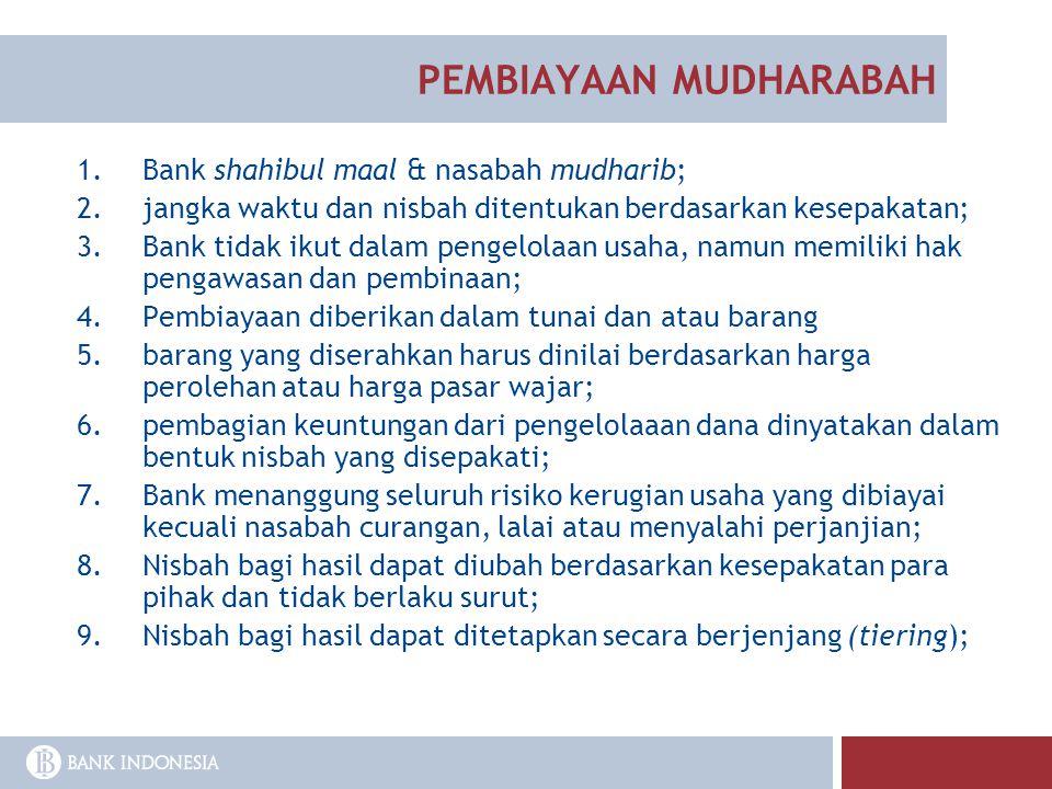 1.Bank shahibul maal & nasabah mudharib; 2.jangka waktu dan nisbah ditentukan berdasarkan kesepakatan; 3.Bank tidak ikut dalam pengelolaan usaha, namu