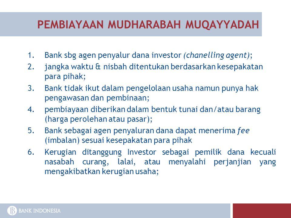 PEMBIAYAAN MUDHARABAH MUQAYYADAH 1.Bank sbg agen penyalur dana investor (chanelling agent); 2.jangka waktu & nisbah ditentukan berdasarkan kesepakatan