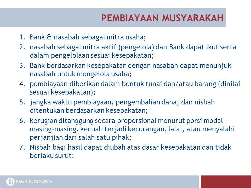 1.Bank & nasabah sebagai mitra usaha; 2.nasabah sebagai mitra aktif (pengelola) dan Bank dapat ikut serta dalam pengelolaan sesuai kesepakatan; 3.Bank