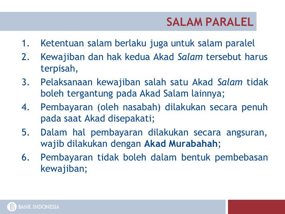 SALAM PARALEL 1.Ketentuan salam berlaku juga untuk salam paralel 2.Kewajiban dan hak kedua Akad Salam tersebut harus terpisah, 3.Pelaksanaan kewajiban
