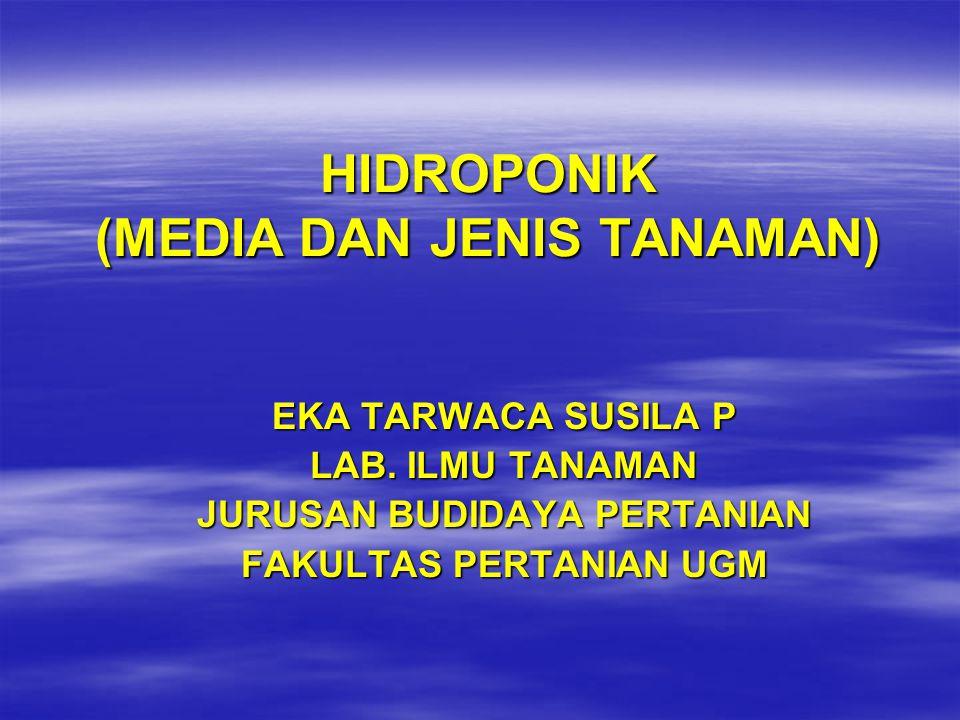 HIDROPONIK (MEDIA DAN JENIS TANAMAN) EKA TARWACA SUSILA P LAB.
