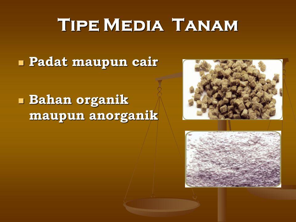 Tipe Media Tanam Padat maupun cair Padat maupun cair Bahan organik maupun anorganik Bahan organik maupun anorganik