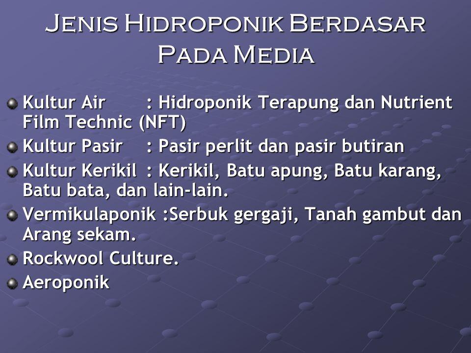 Jenis Hidroponik Berdasar Pada Media Kultur Air : Hidroponik Terapung dan Nutrient Film Technic (NFT) Kultur Pasir : Pasir perlit dan pasir butiran Kultur Kerikil: Kerikil, Batu apung, Batu karang, Batu bata, dan lain-lain.