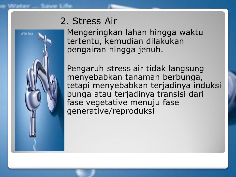 2. Stress Air Mengeringkan lahan hingga waktu tertentu, kemudian dilakukan pengairan hingga jenuh. Pengaruh stress air tidak langsung menyebabkan tana