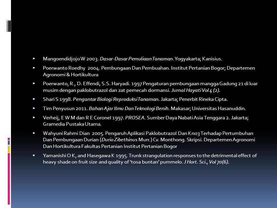  Mangoendidjojo W 2003. Dasar-Dasar Pemuliaan Tanaman. Yogyakarta; Kanisius.  Poerwanto Roedhy 2004. Pembungaan Dan Pembuahan. Institut Pertanian Bo