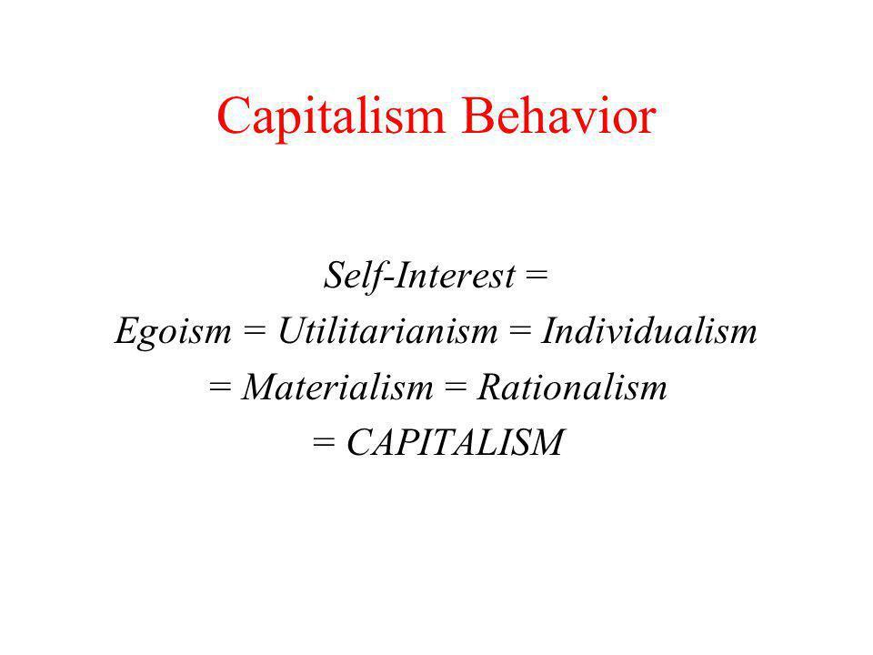 Capitalism Behavior F.Y Edgeworth (1881) Egoism merupakan nilai yang konsisten dalam diri setiap manusia yang mempengaruhi setiap keputusan-keputusan