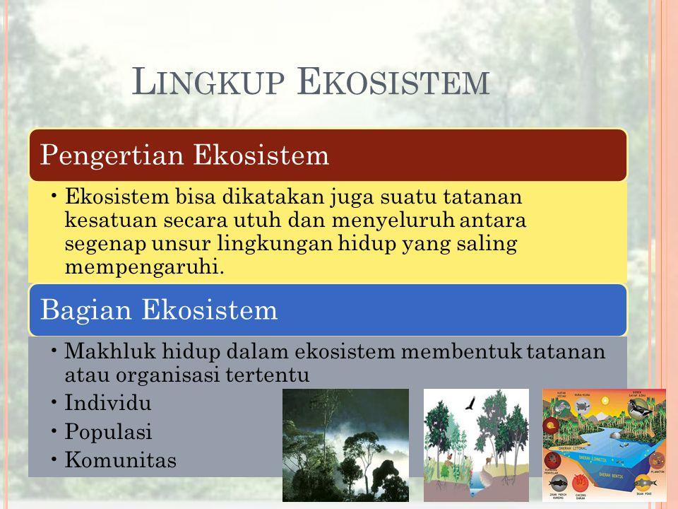 L INGKUP E KOSISTEM Pengertian Ekosistem Ekosistem bisa dikatakan juga suatu tatanan kesatuan secara utuh dan menyeluruh antara segenap unsur lingkung