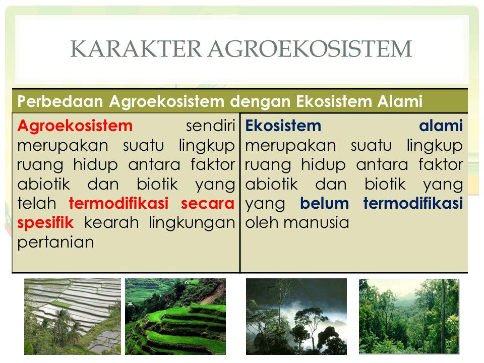 KARAKTER AGROEKOSISTEM Perbedaan Agroekosistem dengan Ekosistem Alami Agroekosistem sendiri merupakan suatu lingkup ruang hidup antara faktor abiotik