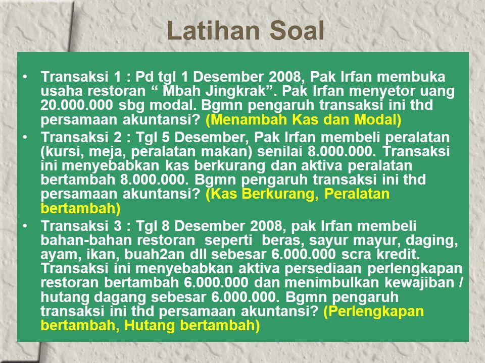 Latihan Soal Transaksi 1 : Pd tgl 1 Desember 2008, Pak Irfan membuka usaha restoran Mbah Jingkrak .