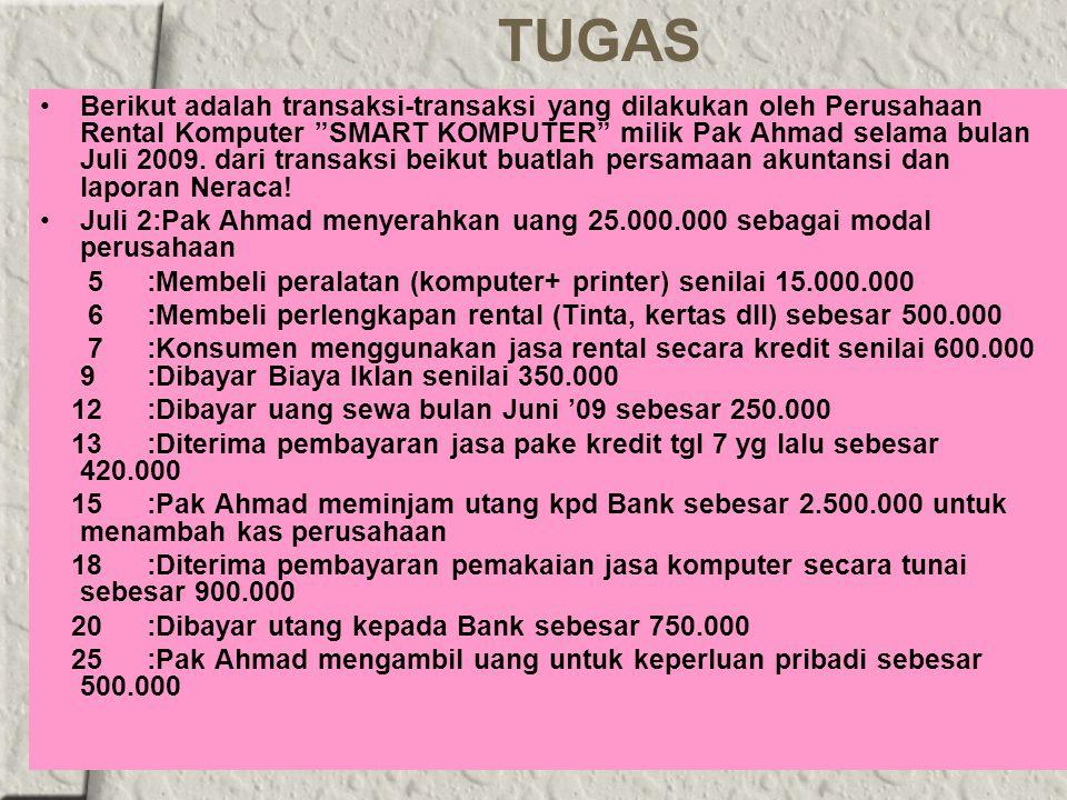 TUGAS Berikut adalah transaksi-transaksi yang dilakukan oleh Perusahaan Rental Komputer SMART KOMPUTER milik Pak Ahmad selama bulan Juli 2009.