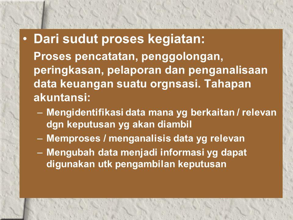 Dari sudut proses kegiatan: Proses pencatatan, penggolongan, peringkasan, pelaporan dan penganalisaan data keuangan suatu orgnsasi.