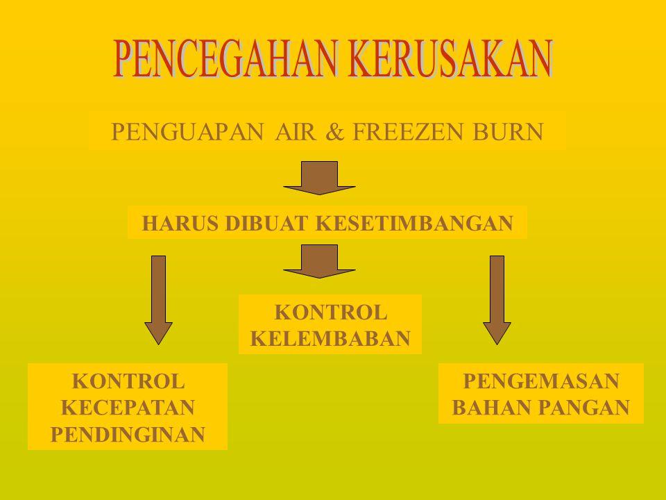 PENYUSUTAN BERAT PROTEIN & LEMAK RUSAK PENYERAPAN BAU Adanya proses perpindahan panas Adanya pembekuan air bahan pangan Terjadinya penguapan air Kerus