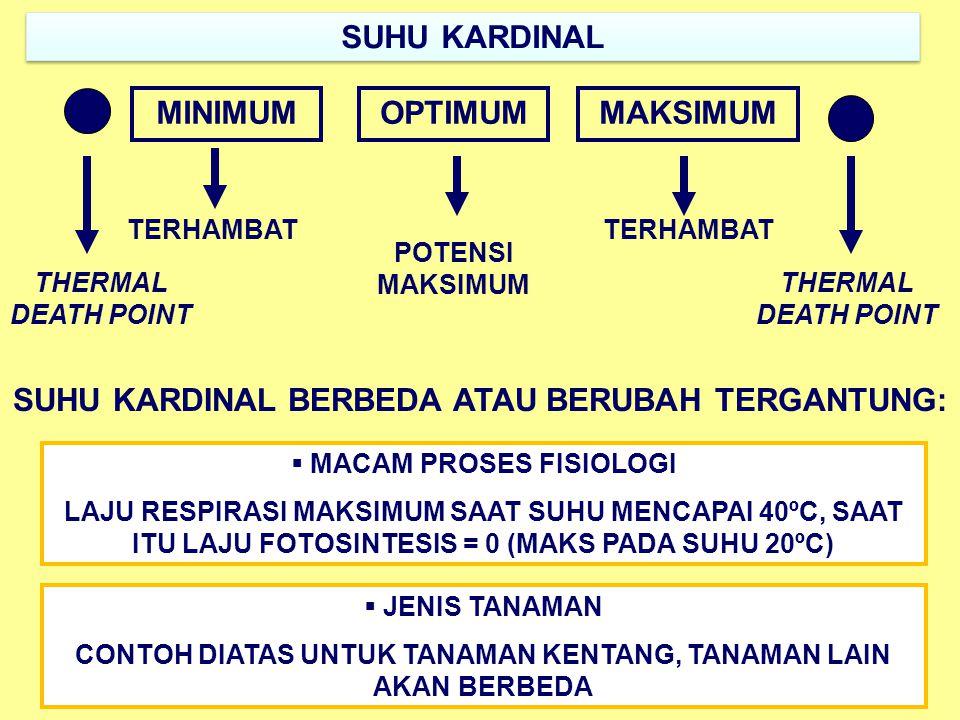 SUHU KARDINAL MINIMUMOPTIMUMMAKSIMUM POTENSI MAKSIMUM TERHAMBAT THERMAL DEATH POINT SUHU KARDINAL BERBEDA ATAU BERUBAH TERGANTUNG:  MACAM PROSES FISIOLOGI LAJU RESPIRASI MAKSIMUM SAAT SUHU MENCAPAI 40ºC, SAAT ITU LAJU FOTOSINTESIS = 0 (MAKS PADA SUHU 20ºC)  JENIS TANAMAN CONTOH DIATAS UNTUK TANAMAN KENTANG, TANAMAN LAIN AKAN BERBEDA