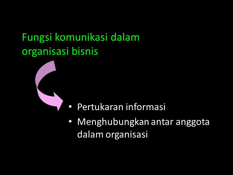Fungsi komunikasi dalam organisasi bisnis Pertukaran informasi Menghubungkan antar anggota dalam organisasi
