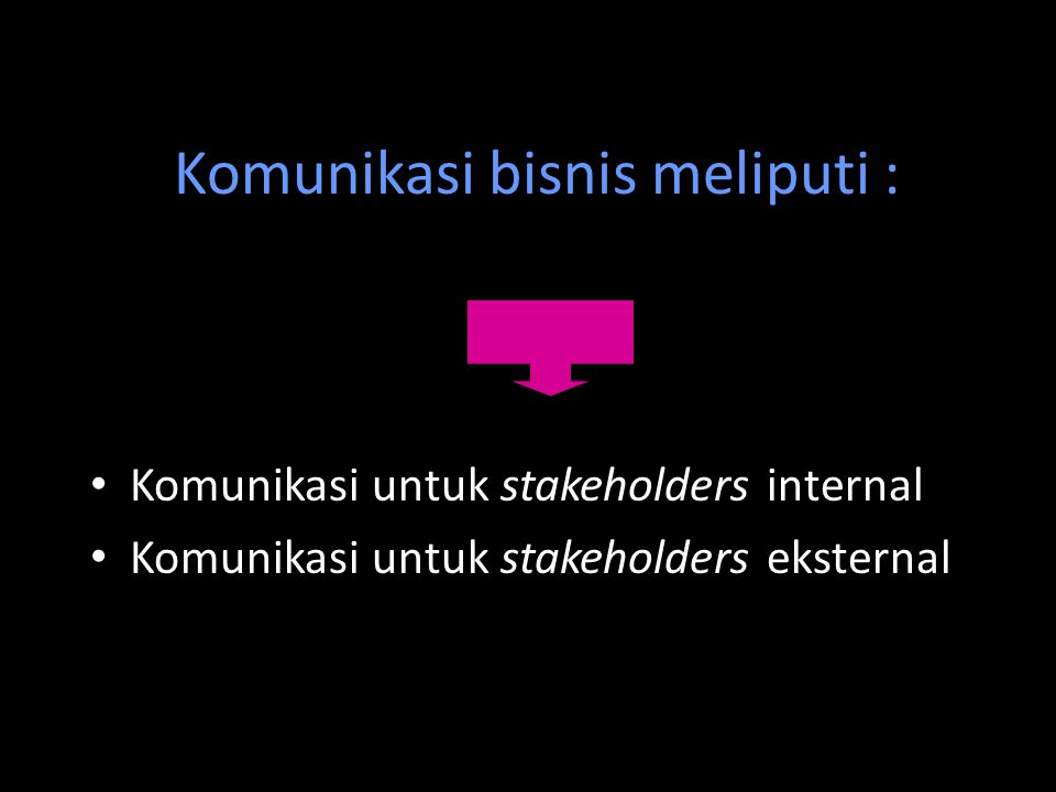 Komunikasi bisnis meliputi : Komunikasi untuk stakeholders internal Komunikasi untuk stakeholders eksternal