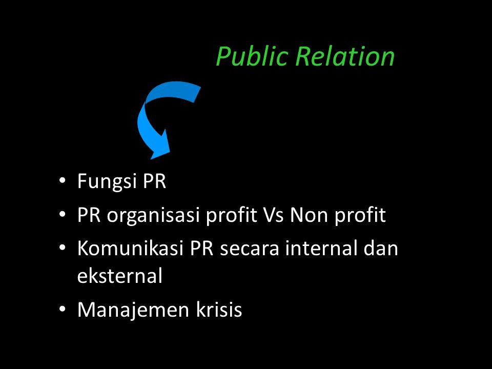 Public Relation Fungsi PR PR organisasi profit Vs Non profit Komunikasi PR secara internal dan eksternal Manajemen krisis