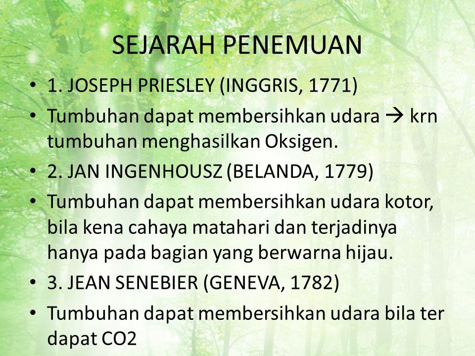SEJARAH PENEMUAN 1. JOSEPH PRIESLEY (INGGRIS, 1771) Tumbuhan dapat membersihkan udara  krn tumbuhan menghasilkan Oksigen. 2. JAN INGENHOUSZ (BELANDA,