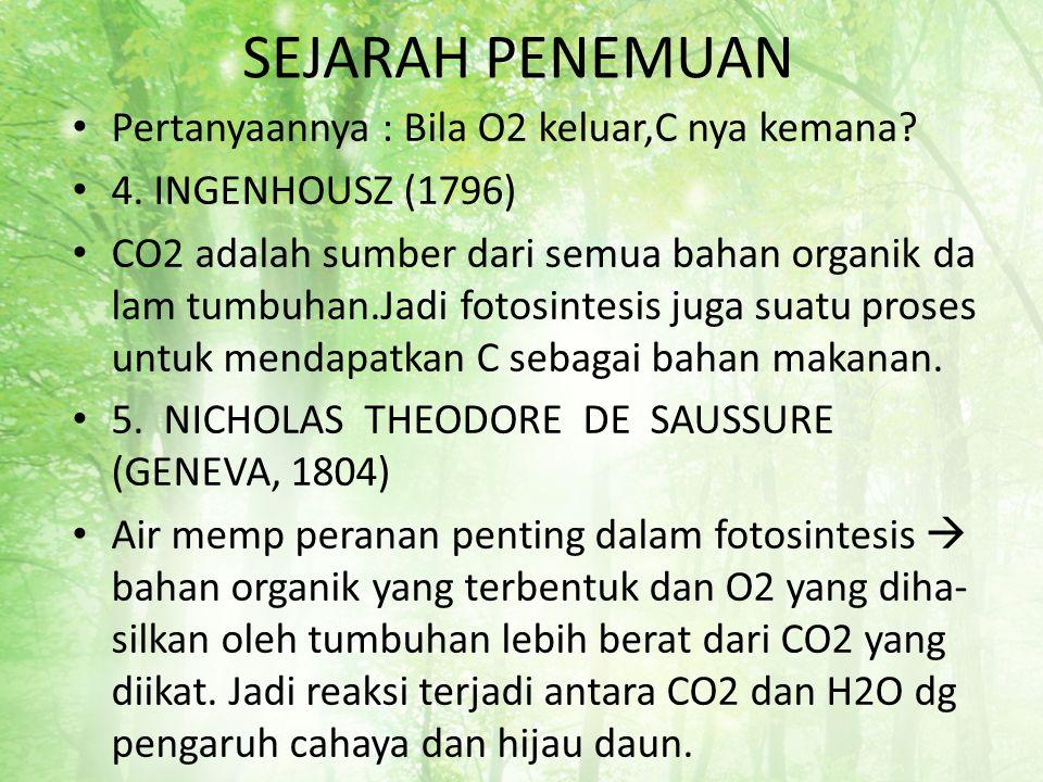 SEJARAH PENEMUAN Pertanyaannya : Bila O2 keluar,C nya kemana? 4. INGENHOUSZ (1796) CO2 adalah sumber dari semua bahan organik da lam tumbuhan.Jadi fot
