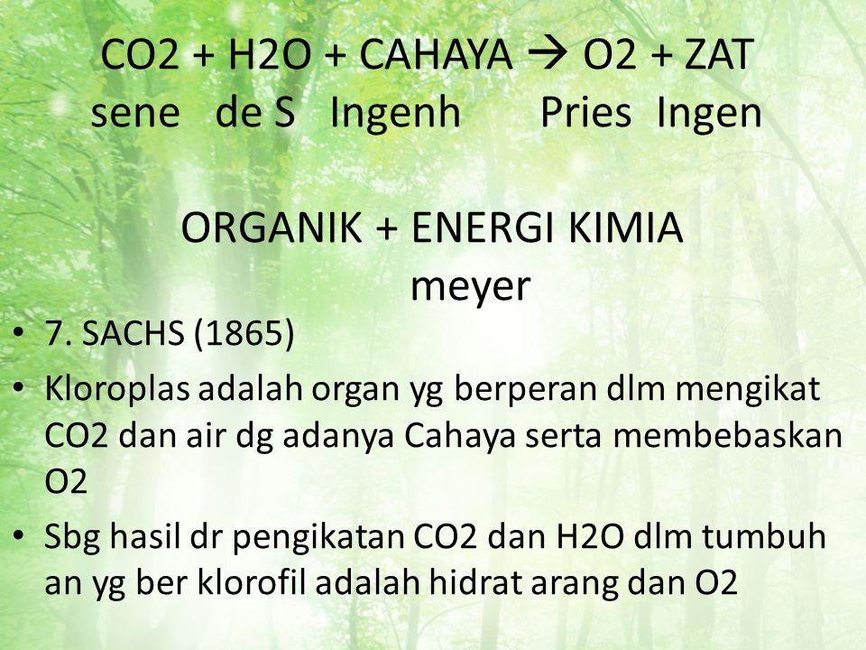CO2 + H2O + CAHAYA  O2 + ZAT sene de S Ingenh Pries Ingen ORGANIK + ENERGI KIMIA meyer 7. SACHS (1865) Kloroplas adalah organ yg berperan dlm mengika
