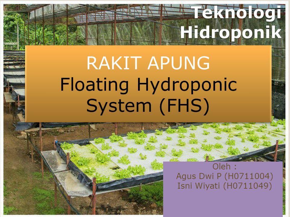 Teknologi Hidroponik Oleh : Agus Dwi P (H0711004) Isni Wiyati (H0711049) RAKIT APUNG Floating Hydroponic System (FHS) RAKIT APUNG Floating Hydroponic