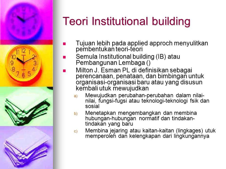 Teori Institutional building Tujuan lebih pada applied approch menyulitkan pembentukan teori-teori Tujuan lebih pada applied approch menyulitkan pembe