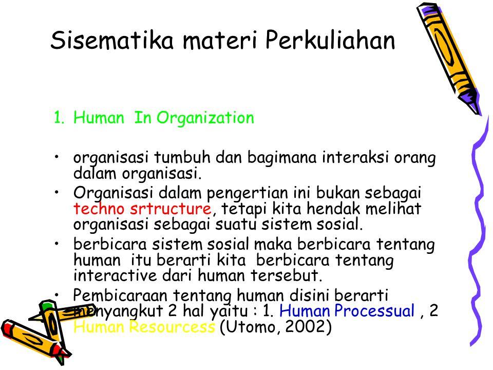 Sisematika materi Perkuliahan 1.Human In Organization organisasi tumbuh dan bagimana interaksi orang dalam organisasi. Organisasi dalam pengertian ini
