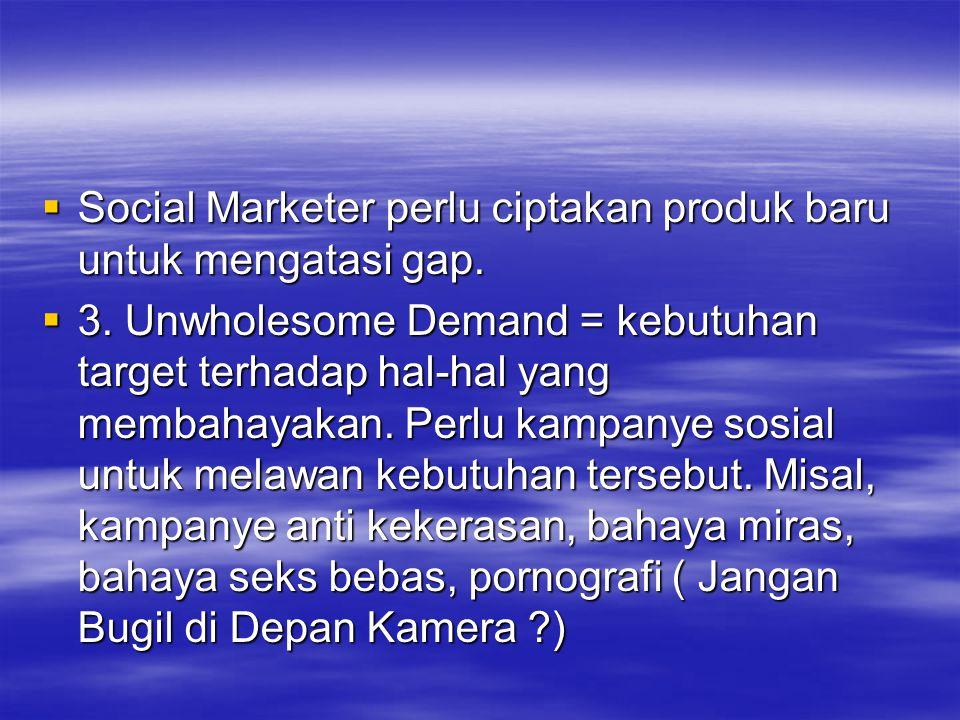  Social Marketer perlu ciptakan produk baru untuk mengatasi gap.  3. Unwholesome Demand = kebutuhan target terhadap hal-hal yang membahayakan. Perlu