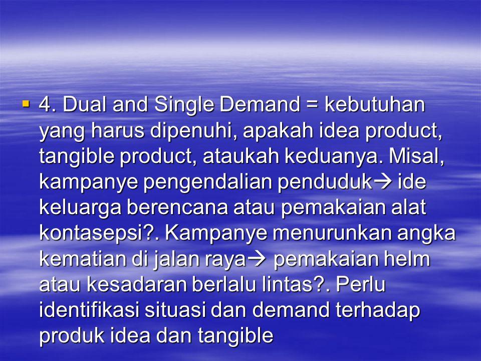  4. Dual and Single Demand = kebutuhan yang harus dipenuhi, apakah idea product, tangible product, ataukah keduanya. Misal, kampanye pengendalian pen