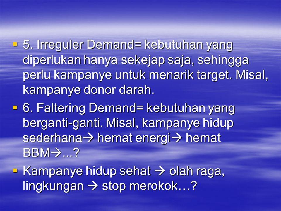  5. Irreguler Demand= kebutuhan yang diperlukan hanya sekejap saja, sehingga perlu kampanye untuk menarik target. Misal, kampanye donor darah.  6. F