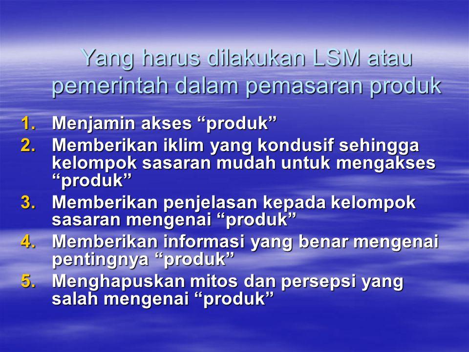 """Yang harus dilakukan LSM atau pemerintah dalam pemasaran produk 1.Menjamin akses """"produk"""" 2.Memberikan iklim yang kondusif sehingga kelompok sasaran m"""