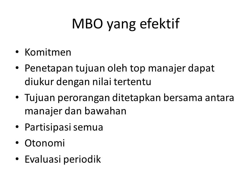 MBO yang efektif Komitmen Penetapan tujuan oleh top manajer dapat diukur dengan nilai tertentu Tujuan perorangan ditetapkan bersama antara manajer dan