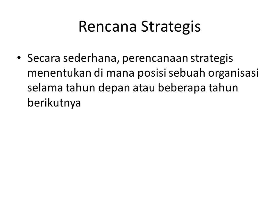 Rencana Strategis Secara sederhana, perencanaan strategis menentukan di mana posisi sebuah organisasi selama tahun depan atau beberapa tahun berikutny