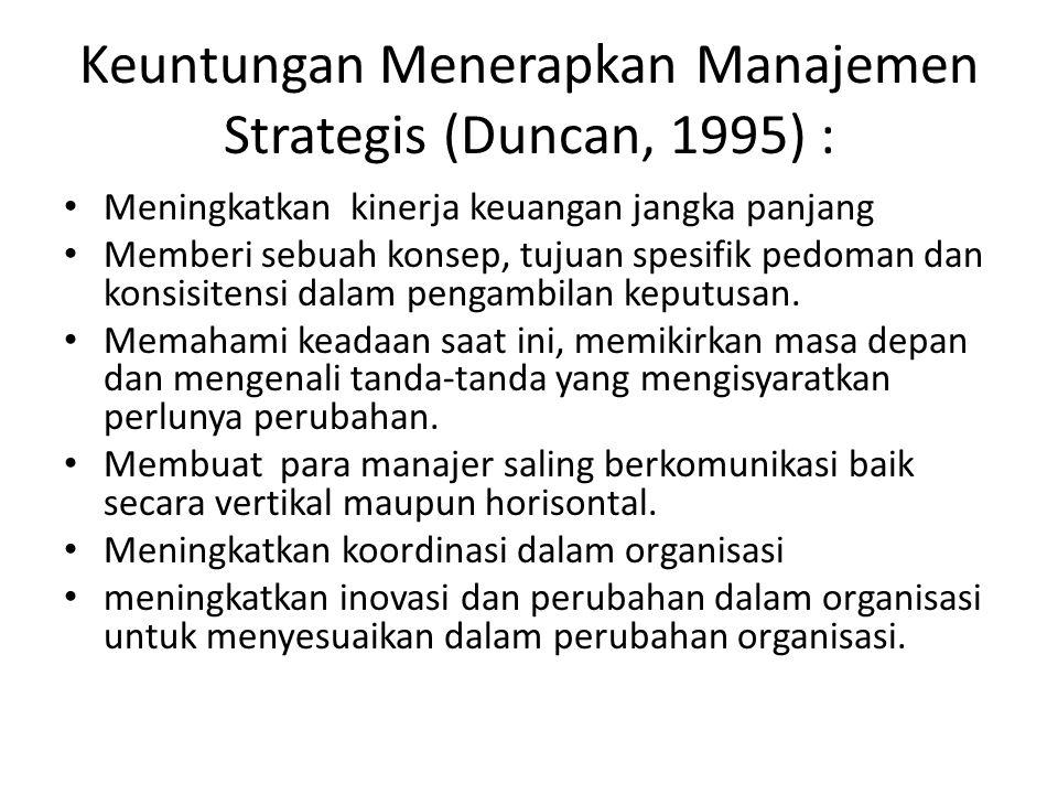Keuntungan Menerapkan Manajemen Strategis (Duncan, 1995) : Meningkatkan kinerja keuangan jangka panjang Memberi sebuah konsep, tujuan spesifik pedoman