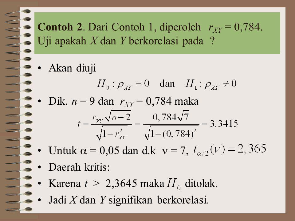 Contoh 2. Dari Contoh 1, diperoleh r XY = 0,784. Uji apakah X dan Y berkorelasi pada ? Akan diuji Dik. n = 9 dan r XY = 0,784 maka Untuk  = 0,05 dan
