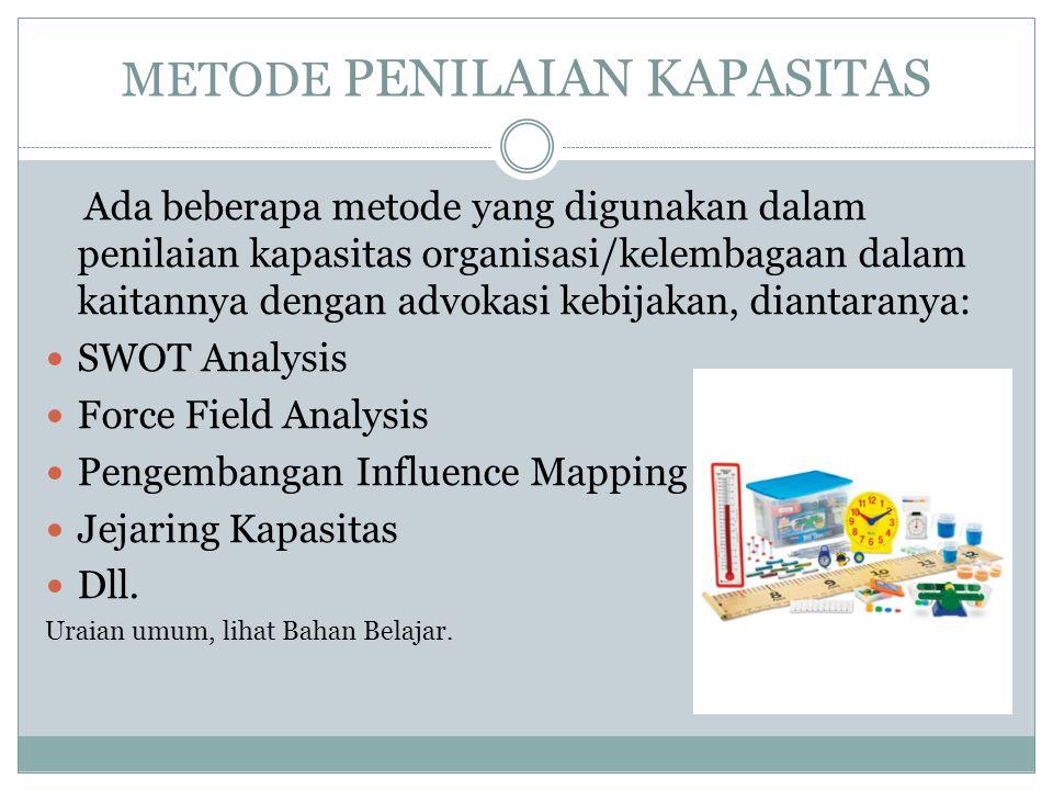 METODE PENILAIAN KAPASITAS Ada beberapa metode yang digunakan dalam penilaian kapasitas organisasi/kelembagaan dalam kaitannya dengan advokasi kebijakan, diantaranya: SWOT Analysis Force Field Analysis Pengembangan Influence Mapping Jejaring Kapasitas Dll.