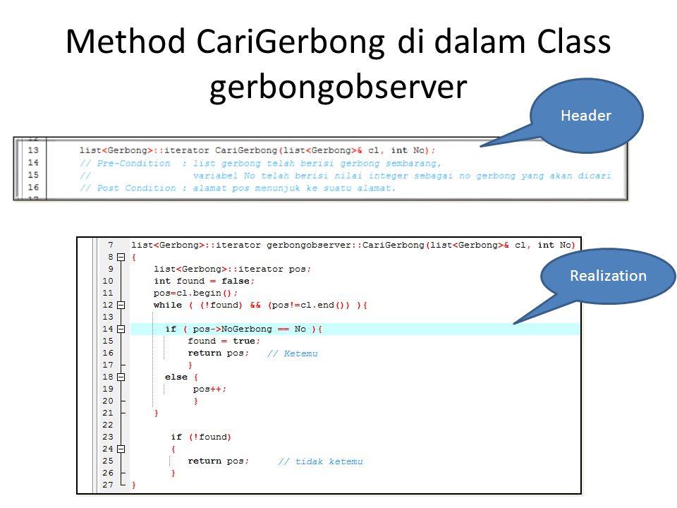 Method CariGerbong di dalam Class gerbongobserver Header Realization