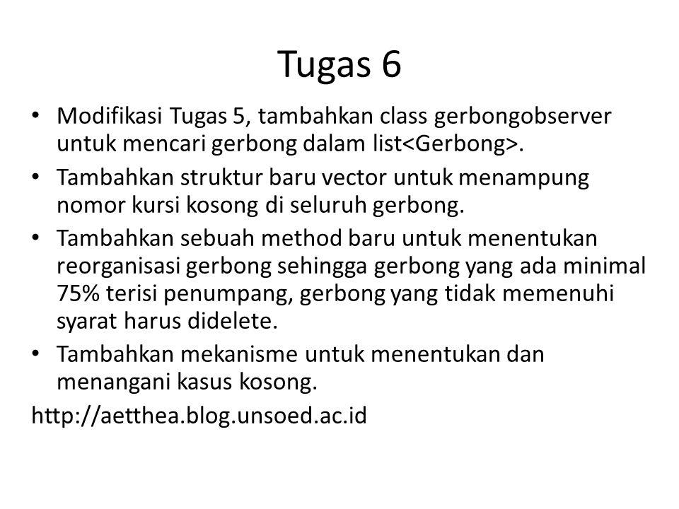 Tugas 6 Modifikasi Tugas 5, tambahkan class gerbongobserver untuk mencari gerbong dalam list.