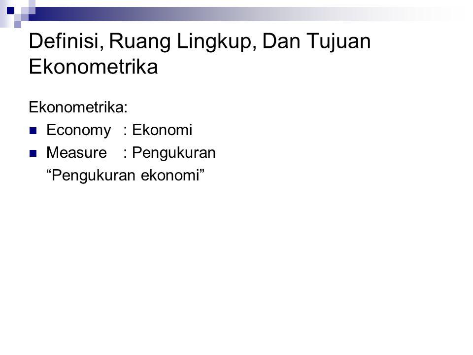 """Definisi, Ruang Lingkup, Dan Tujuan Ekonometrika Ekonometrika: Economy: Ekonomi Measure: Pengukuran """"Pengukuran ekonomi"""""""