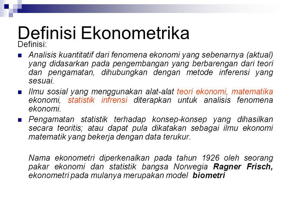Definisi Ekonometrika Definisi: Analisis kuantitatif dari fenomena ekonomi yang sebenarnya (aktual) yang didasarkan pada pengembangan yang berbarengan