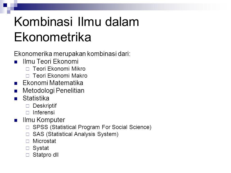Kombinasi Ilmu dalam Ekonometrika Ekonomerika merupakan kombinasi dari: Ilmu Teori Ekonomi  Teori Ekonomi Mikro  Teori Ekonomi Makro Ekonomi Matemat
